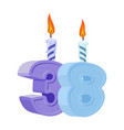 38 years birthday number with festive candle for vector image