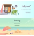 Summer holidays beach labels umbrella and castle vector image