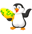 Penguin holding surfing board vector image