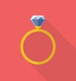 Diamond ring icon flat style vector image