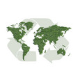 ecology world map with sign of recycling vector image