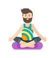 flat style of bearded man doing yoga vector image
