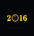happy new 2016 year with clock vector image