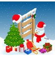 new year and merry christmas winter background vector image
