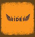 crazy rider label vector image