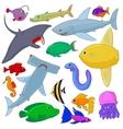 Fish Icons set cartoon style vector image