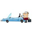Businessman Waving Next To Convertible Car vector image vector image