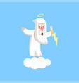 angry god character standing on fluffy white cloud vector image