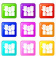 different people hands raised up set 9 vector image