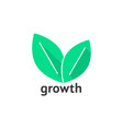 growth logo with green leafs vector image