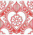 mehendi seamless pattern of red lines on a white vector image
