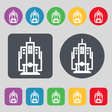 skyscraper icon sign A set of 12 colored buttons vector image