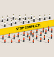 stop conflict of two crowd mediation problem fight vector image