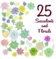 Succulent garden clip art flowers element set vector image