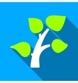 Tree Plant Flat Long Shadow Square Icon vector image