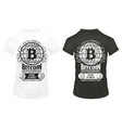 Vintage bitcoin crypto currency prints template vector image