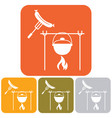 fire pot and sausage icon vector image