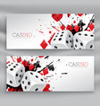 set of casino banners with dices and abstract ink vector image