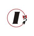 Crane hook towing letter i vector image