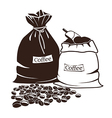 Sacks with coffee and coffee beans vector image vector image