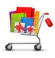 shopping cart gift boxes vector image vector image