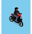 Isometric 3D Motorbiker with Motorcycle vector image