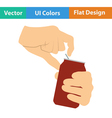 Human hands opening aluminum can icon vector image