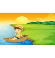 Boy in a boat vector image