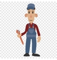 Cartoon plumber holding a wrench vector image