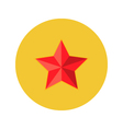 Christmas Red Star Flat Circle Icon vector image