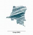 Doodle sketch of Democratic Republic of the Congo vector image