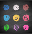 grunge colorful chalk circles vector image