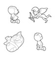 kids icon set outline style vector image