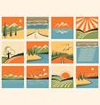 Nature landscape icons set of symbols vector image