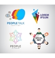 social net logo people connection logo vector image