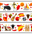 spain seamless border spanish traditional symbols vector image