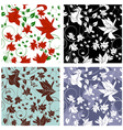 Floral Seamless Color Set vector image vector image