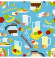 Breakfast morning elements seamless pattern vector image