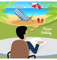 Man Sitting on Chair Dreaming About Good Rest vector image