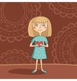 blue eyed blonde girl vector image vector image