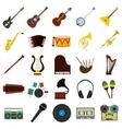 Music flat icons set vector image