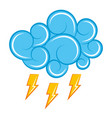 blue cloud thunderbolt storm cartoon image vector image