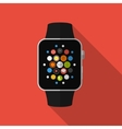Smart watch with icons concept Flat design vector image