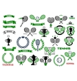 Tennis sport game icons and symbols vector image