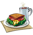 sandwich with sausage vector image