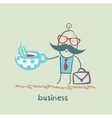 businessman drinking tea vector image vector image