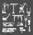 Set icons of crane lifts and winches vector image
