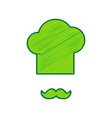 chef hat and moustache sign lemon vector image