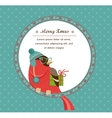 Christmas background with hipster bullfinch vector image