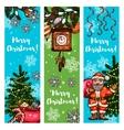 Christmas banner set with Santa gift xmas tree vector image